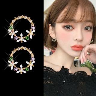 【梨花HaNA】韓國925銀針繽紛花園甜美鋯石微鑲花圈耳環