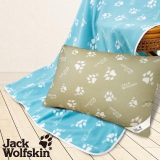 【Jack wolfskin 飛狼】抗菌枕、藍綠四季毯(超值組)