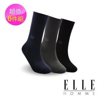 【ELLE HOMME】絲光刺繡紳士襪-6入組(紳士襪)