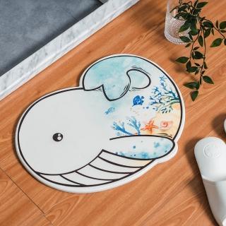 海洋彩繪鯨魚造型速乾吸水珪藻土地墊 矽藻土浴室踏墊
