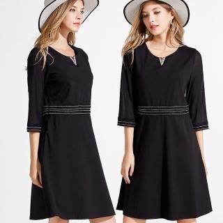 【麗質達人】5170網紗拼接七分袖洋裝(L-5XL)