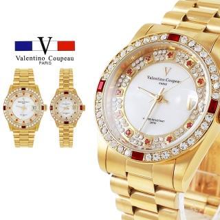 【Valentino Coupeau】范倫鐵諾 古柏 四方鑽橘紅點鑽白貝面全金不鏽鋼殼帶防水手錶(兩款)