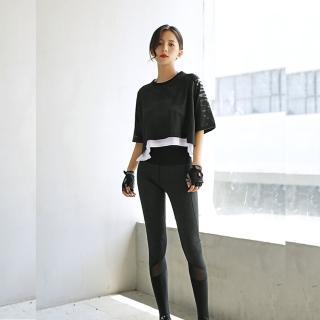 【狐狸姬】庫克鏤空雙層罩衫短袖運動上衣(單罩衫)
