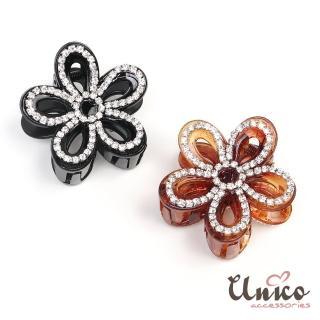 【UNICO】韓國時尚 簡約日常花朵鑲水鑽髮夾/髮飾(配件)