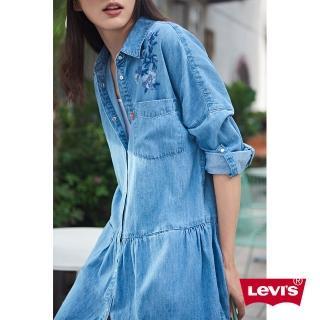 【LEVIS】牛仔連身裙 女裝 / 花卉刺繡 / 前口袋(亞洲限定)