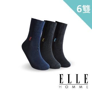【ELLE HOMME】絲光織花寬口紳士襪-6入組(寬口襪)