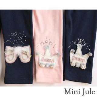 【Mini Jule】女童 內搭褲 毛絨蝴蝶結/編織王冠內搭長褲(共3款)