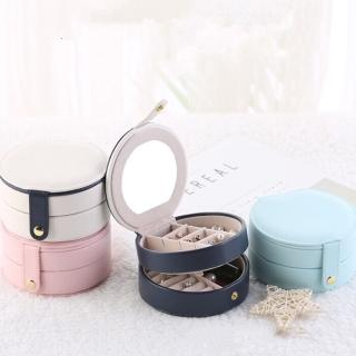 【梨花HaNA】韓國甜美馬卡龍色迷你圓盒多層攜帶式珠寶盒首飾盒