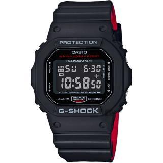 【CASIO 卡西歐】G-SHOCK 經典人氣電子錶-紅黑(DW-5600HR-1)