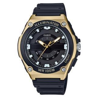 【CASIO 卡西歐】俐落指針男錶 樹脂錶帶 黑X銀/黑X藍/黑X金 防水100米(MWC-100H-9A)
