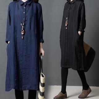 【A.Cheter】日本京都采風寬鬆棉麻長袖織入條紋長洋裝102913*#(2色)