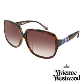 【Vivienne Westwood】英國薇薇安魏斯伍德復古撞色星球太陽眼鏡(琥珀  AN757M02)