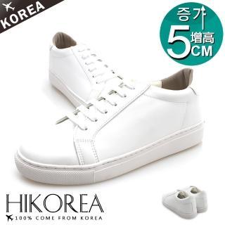 【HIKOREA】正韓製/正常版型。男款增高5CM素色皮革綁帶休閒鞋(73-350白/現+預)