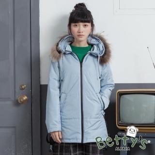 【betty's 貝蒂思】連帽側邊配色羽絨大衣(淺藍)