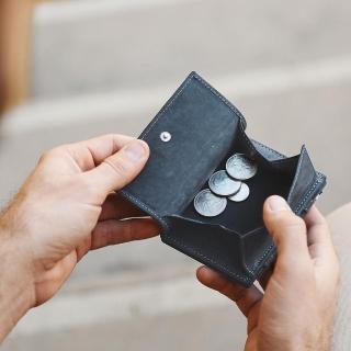 比利時 GARZINI 翻轉皮夾/零錢袋款/藍色(皮夾)