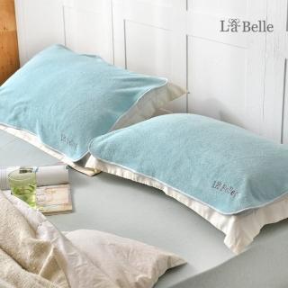 【La Belle】《經典刺繡》舒柔枕巾2入-典雅綠