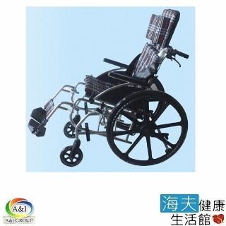【海夫健康生活館】康復 新型 鋁合金 可傾斜 躺式輪椅