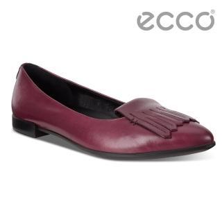 【ecco】ECCO SHAPE POINTY BALLERINA流蘇尖頭正裝平底鞋 女(酒紅 26297301237)