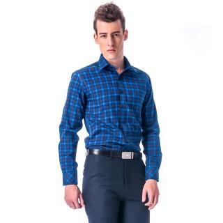 【金安德森】深淺藍黃大格紋保暖窄版長袖襯衫-fast