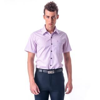 【金安德森】粉色條紋黑釦窄版短袖襯衫
