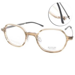 【VYCOZ 眼鏡】薄鋼復古風(透咖啡-銀#CASS HON)