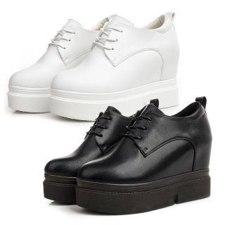 【Taroko】完美歲月純色內增高皮革厚底鞋(白色黑色2色全尺碼)