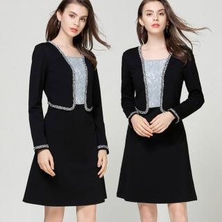 【麗質達人】79227黑灰色假二件洋裝(M-5XL)