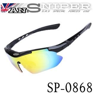 【英國ansniper】抗UV藍光偏光REVO高清運動鏡外銷13件組/亮黑SP0868(自行車/路跑/開車/戶外/釣魚)