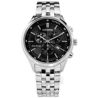 【CITIZEN 星辰】光動能 藍寶石水晶 計時 日期 日本製造 防水100米 不鏽鋼手錶 黑色 42mm(AT2140-55E)