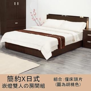 【優利亞】日式文青風雙側崁燈 雙人五尺床頭片(3色)