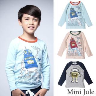 【Mini Jule】男童 上衣 機器人圓領/ 機器人字母長袖T恤(共3款)