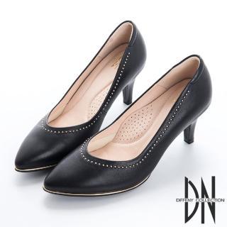 【DN】都會時尚 金屬點綴真皮尖頭跟鞋(黑)