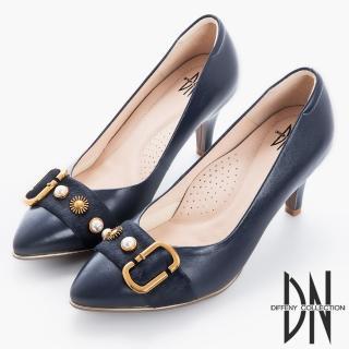 【DN】時尚風範 MIT馬毛飾釦尖頭跟鞋(藍)