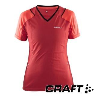 【CRAFT】女 短袖排汗衣『橘紅』1903965(排汗衣 慢跑衣 吸濕排汗 乾爽透氣)