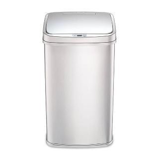 【美國NINESTARS】時尚不銹鋼感應式垃圾桶50L廚衛系列金屬銀