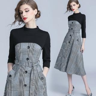 【a la mode 艾拉摩兒】黑色七分袖鐵灰千鳥格紋綁帶洋裝(S-2XL)