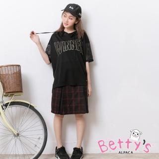 【betty's 貝蒂思】英倫格紋後拉鍊及膝裙(桃紅)