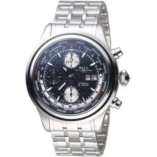 【BALL 波爾】Trainmaster世界時間GMT計時機械錶(CM2052D-SJ-BK 黑)