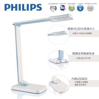 【Philips 飛利浦】大視界 SPADE PLUS 晶彥 LED檯燈(71663-藍色)