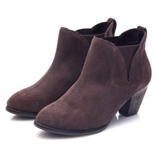 【G.Ms.】牛麂皮拼接鬆緊帶造型粗跟踝靴(淺卡其)