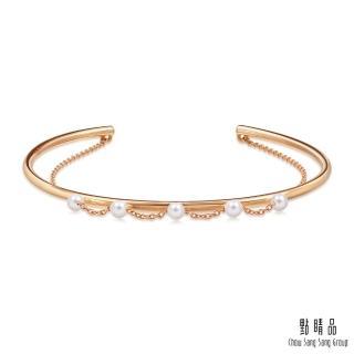 【點睛品】Wrist Play 18K玫瑰金珍珠雙鍊手環