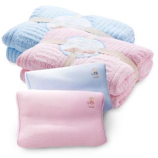 【奇哥】大柔舒毯+透氣兒童枕(4色選擇)