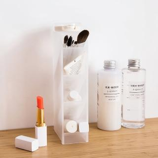 【iware】辦公室文具化妝品 桌面收納盒隔層筆筒 一入組(小物刷具分類收納)