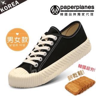 【Paperplanes】韓國空運/正常版型。男女款帆布休閒餅乾鞋(7-507黑/現+預)