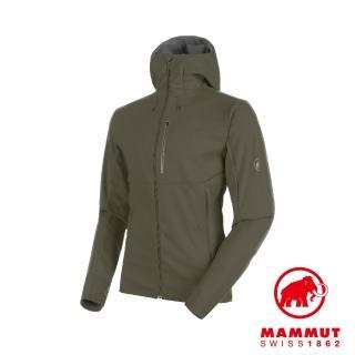 【Mammut 長毛象】Ultimate V SO Hooded Jacket Men 防風防潑水連帽外套 綠鬣蜥 男款 #1011-00061(軟殼)