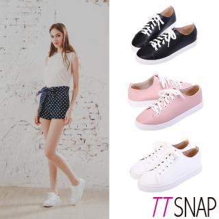 【TTSNAP】休閒鞋-MIT素面綁帶輕量真皮厚底鞋(黑/白/粉)