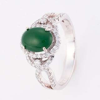 【DOLLY】緬甸 A貨翡翠 銀飾戒指