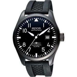 【epos 愛寶時】Passion飛行員戰鬥機機械腕錶-黑/44mm(3401.132.25.35.55)