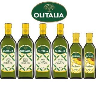 【Olitalia 奧利塔】純橄欖油1000mlx4瓶禮盒組(贈頂級葵花油500mlx2瓶)