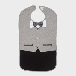【Frenchie Mini Couture】灰色燕尾服成人防水圍兜禮盒(銀髮/高齡/老人/樂齡/照護)